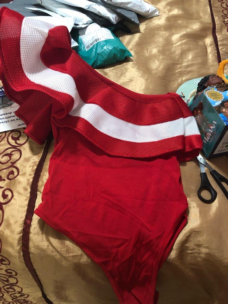 Sexy Red Ruffles Bodysuit Combinaison Femme Off The Shoulder Bodycon Romper Women Summer Short Overalls Playsuit Jumpsuit photo review