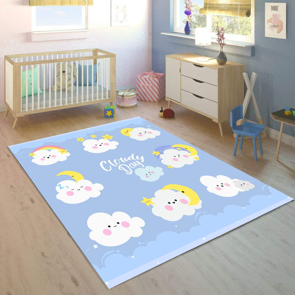 Else Blue White Funny Clouds Sleep 3d Print Non Slip Microfiber Children Kids Room Decorative Area Rug Mat