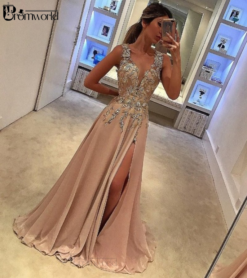 Beautiful Prom Dresses 2020 Sexy V-neck Vestido Formatura Long Prom Dress A-Line Slit Sleeveless Appliques Formal Party Gowns