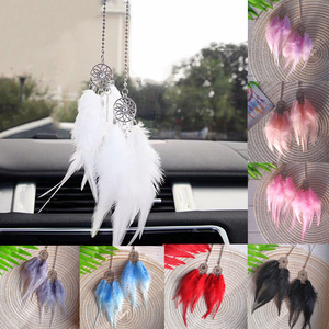 Car Mini Dream Catcher Accessory Interior For Girls Feather Mirror Hanging Pendant In Auto Ethnic Home Decor Lucky Car Ornament