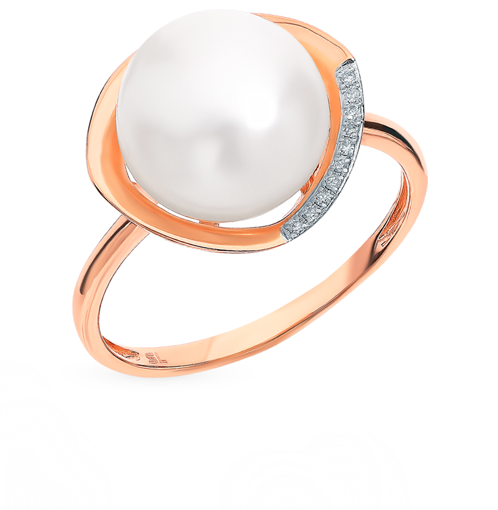 Gold Ring With Pearls And Diamonds Sunlight Sample 585