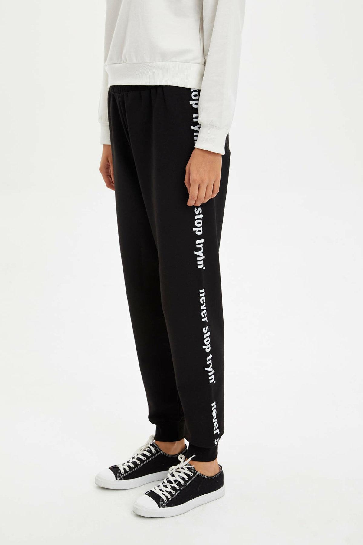 DeFacto Woman Autumn Black Long Pants Women Casual White Letter Prints Bottoms Female Lace-up Trousers-N0447AZ19AU