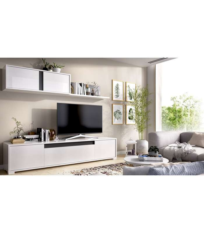Furniture lounge Neil in White gloss graphite.