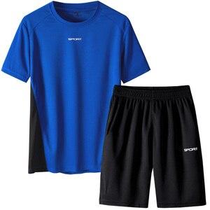 Image 3 - Respirant hommes survêtement été hommes 2 pièces ensemble à manches courtes t shirt de course t shirts Shorts ensemble de vêtements de sport hommes hommes ensemble de vêtements
