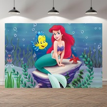 Vinil fino sob o mar pequena sereia ariel princesa crianças banner cerimônia fotografia fundos estúdio foto backdrops
