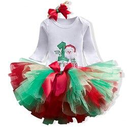 Одежда для маленьких девочек нарядная одежда для первого дня рождения комплекты одежды для младенцев комбинезон + юбка-пачка + Цветочная ша...