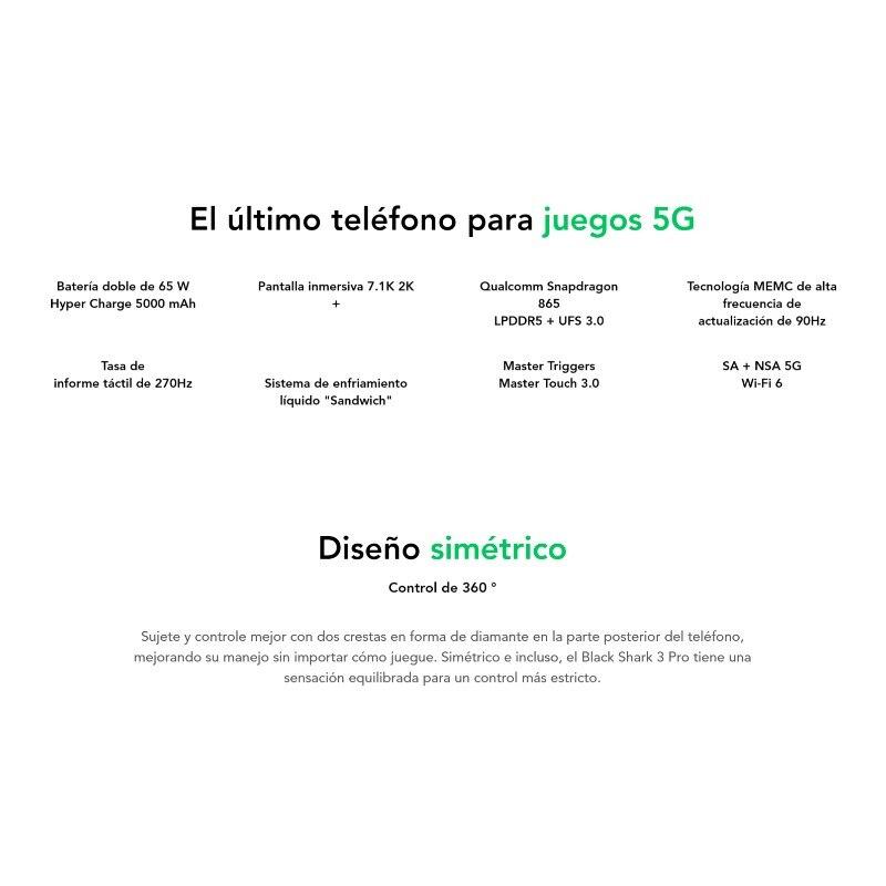 [Versión Global para España] Xiaomi Black Shark 3 Pro (Memoria interna de 256 GB, 12GB de RAM, 5000mAh,)