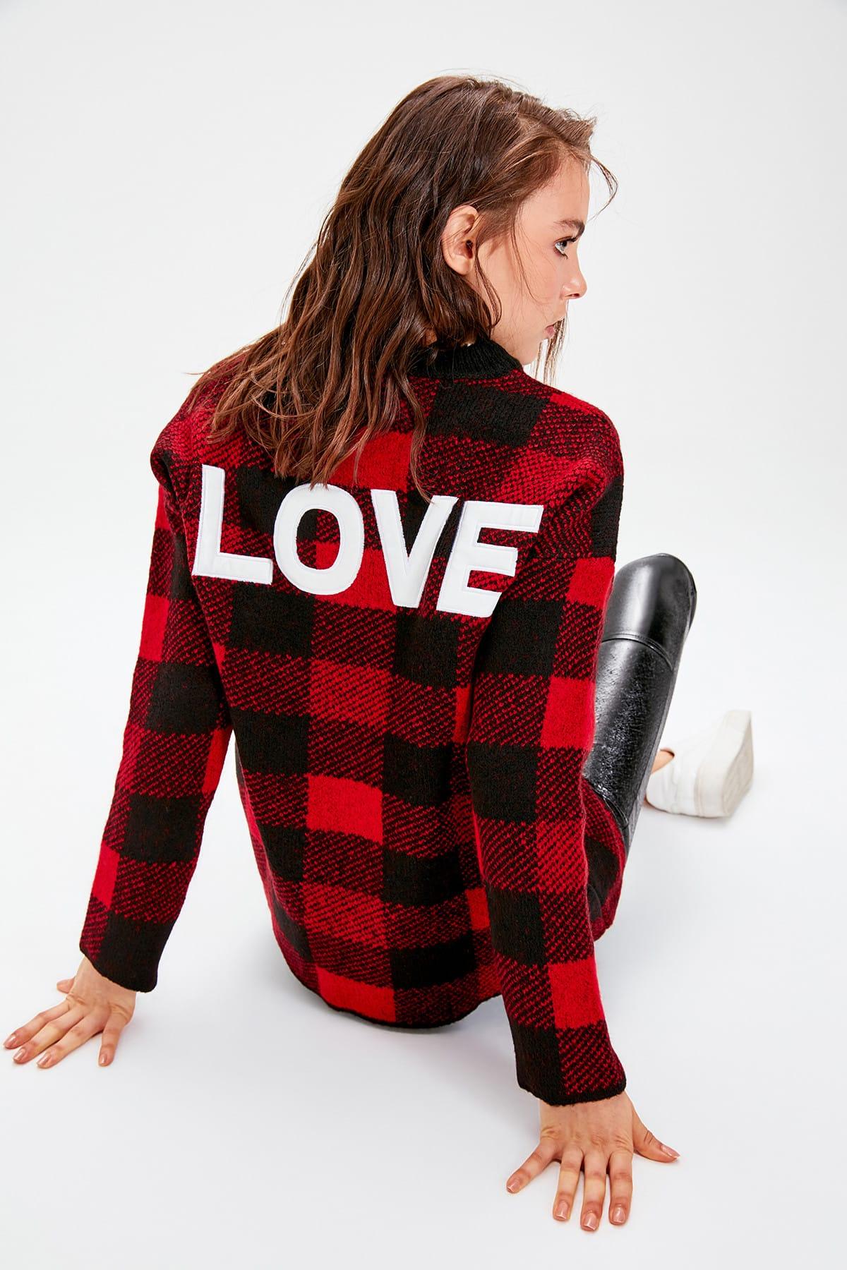 Trendyol WOMEN-Black Printed Knitwear Sweater TWOAW20FV0070