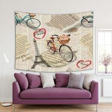Cesta de bicicleta de la Torre Eiffel con rosas y formas de corazón París Vintage periódico Beige rosa azul postal tapiz impreso