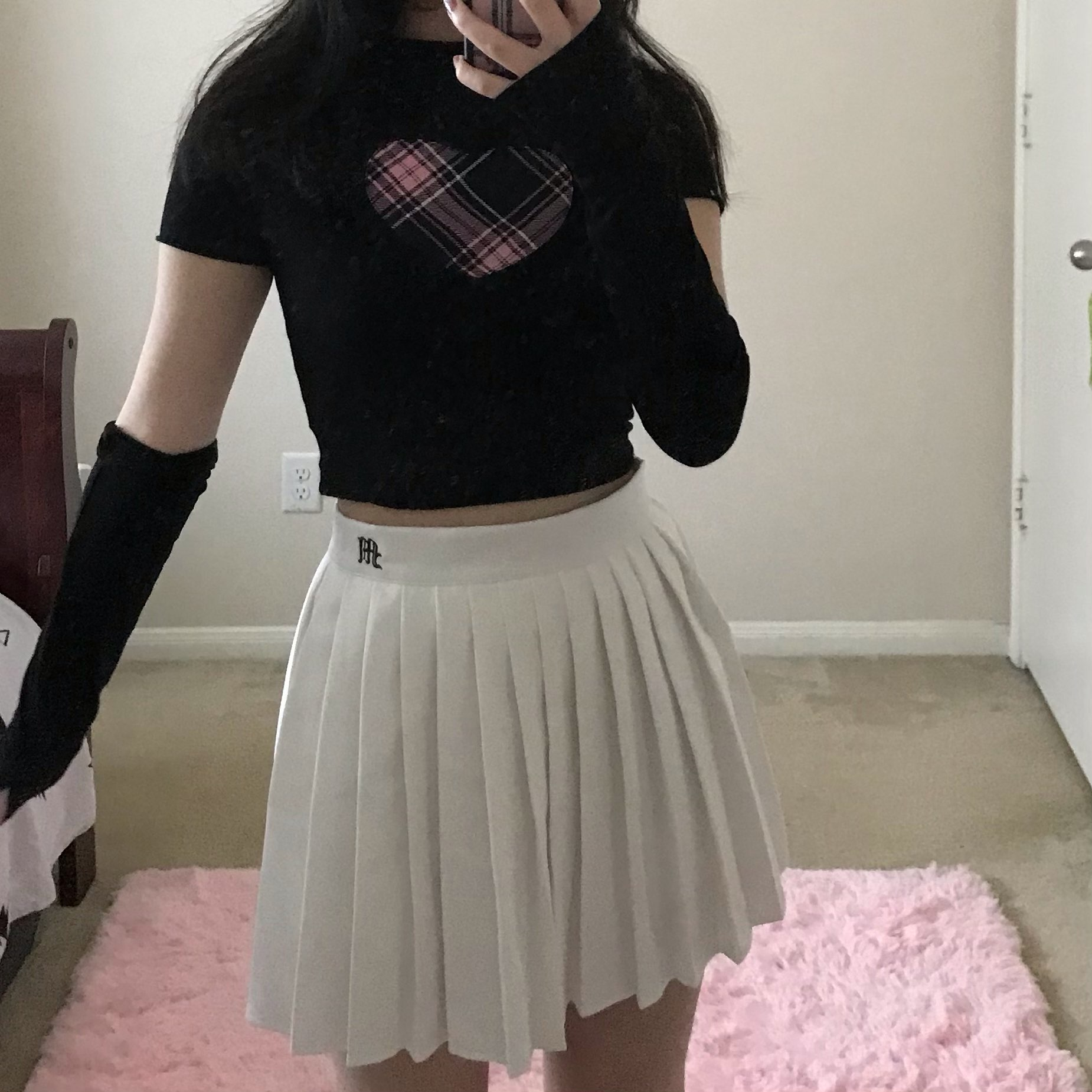 E-girl Gothic Y2K Crop top with Plaid Heart and Ruffles photo review