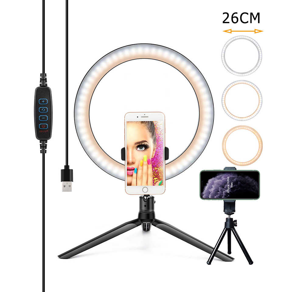 26/16CM photographie éclairage téléphone Ringlight trépied support Photo Led Selfie Bluetooth à distance anneau lumière lampe TikTok Youtube en direct