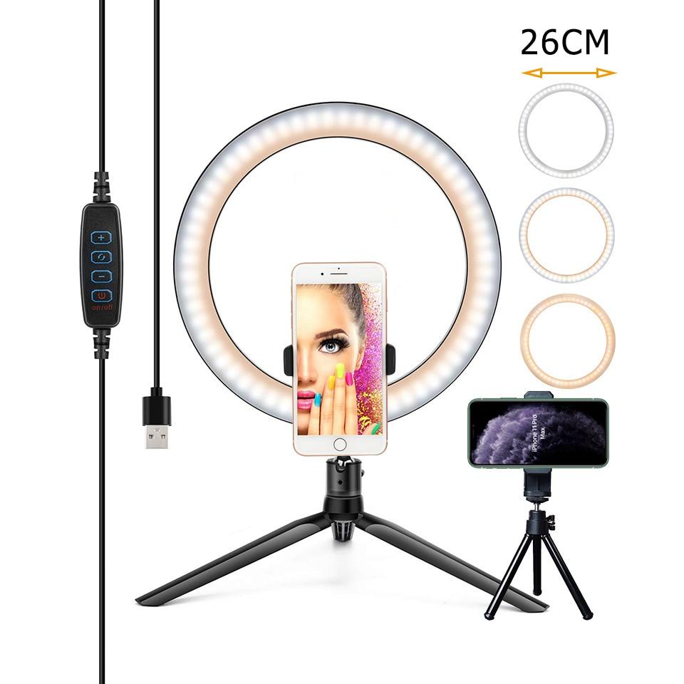 26CM Photography Lighting Phone Ringlight Tripod Stand Photo Led Selfie Bluetooth remote Ring Light Lamp TikTok Youtube Live|Photographic Lighting| - AliExpress