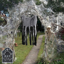 Halloween Garden Decoration Skull Skeleton Tombstone Ghost Hanging Stretchy Spider Web Haunted House Horror Decor