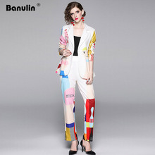Banulin Autumn Fashion Runway Two Pieces Set Womens Cute Colorful Cartoon Printed Top Brazer Casual Slim Pant Suit Twinset