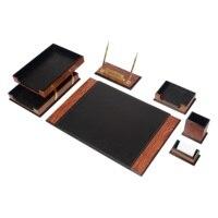 Luxury Wooden Prestige Classical Desk Set 8 Pieces Desk Organizer Office Accessories Desk Organizer Office Organizer