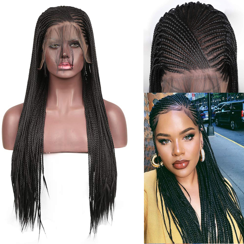 RONGDUOYI 13x6 Lace Black Lace Wigs High Temperature Fiber Hair Synthetic Lace Front Wig Long Braided Box Braids Wigs For Women