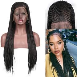 RONGDUOYI 13x6 pelucas de encaje negro pelo de fibra de alta temperatura peluca frontal de encaje sintético caja larga trenzada trenzas y pelucas para mujer