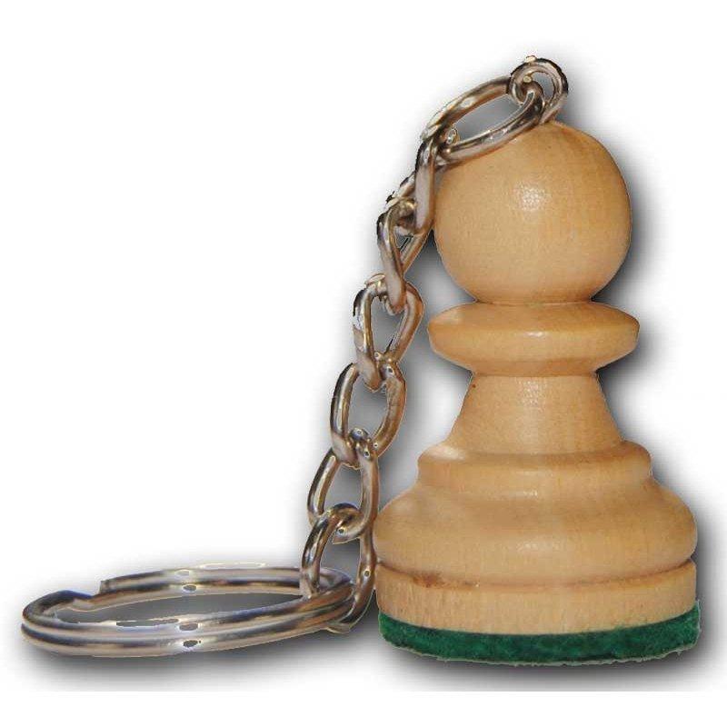 Keychain Chess Wood PAWN WHITE