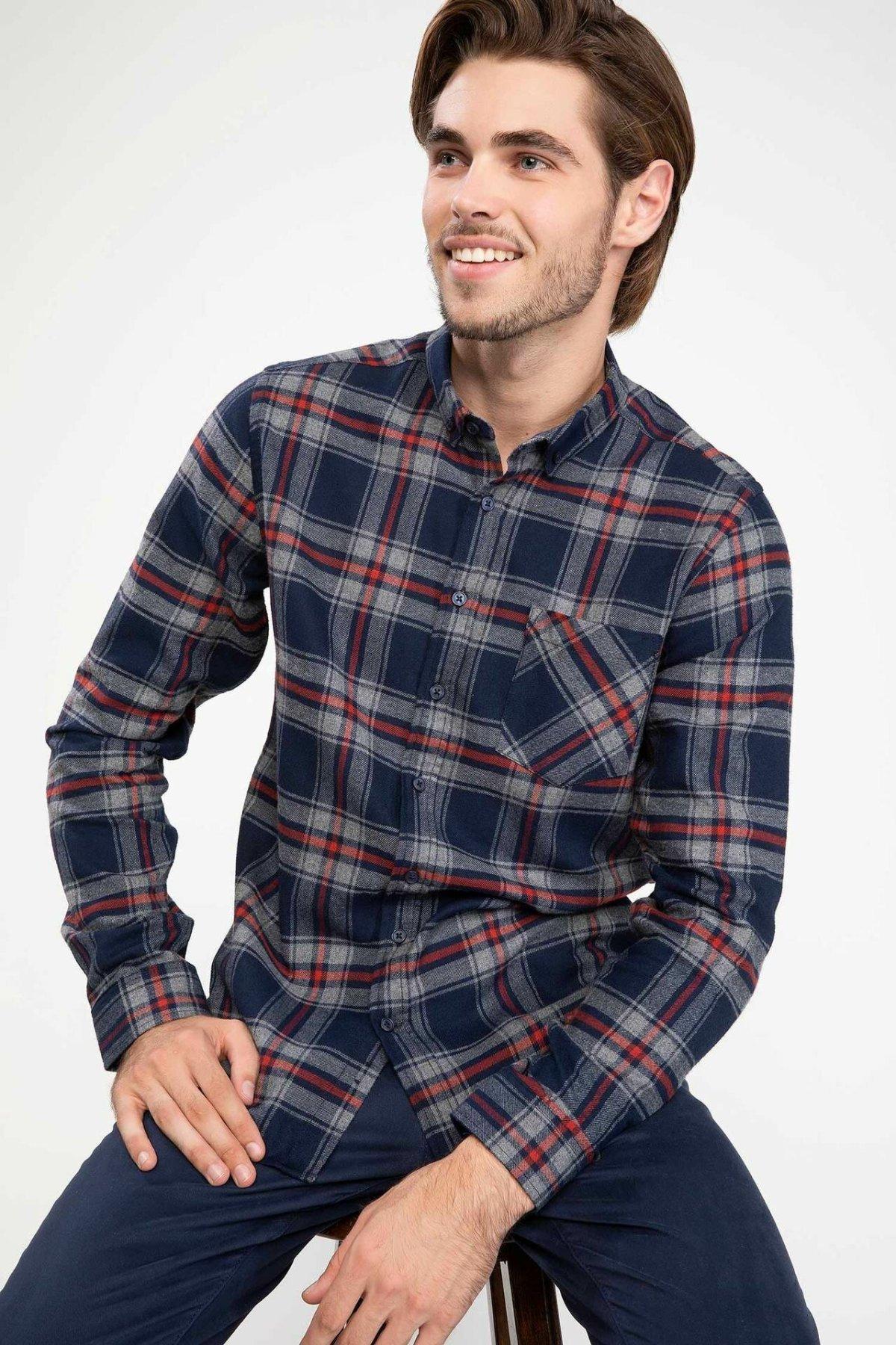 DeFacto Man Plaids Turn-down Collar Long Sleeve Shirt Men Casual Top Shirts Men Autumn Pocket Shirts-J0600AZ18WN