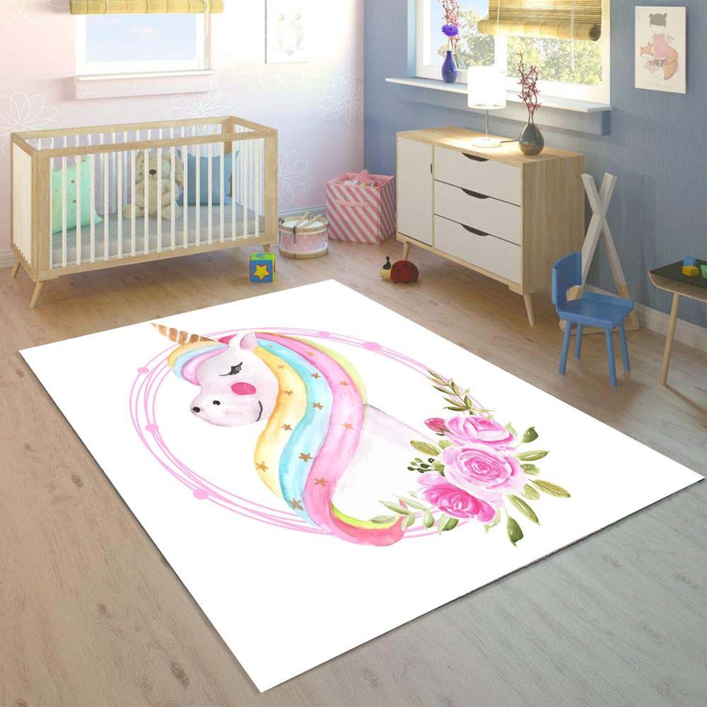 Else White Floors On Colored Unicorn Horses 3d Print Non Slip Microfiber Children Kids Room Decorative Area Rug Kids  Mat