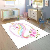 Mais branco pisos em cavalos unicórnio colorido 3d impressão não deslizamento microfibra crianças sala de crianças área decorativa tapete crianças Tapete     -