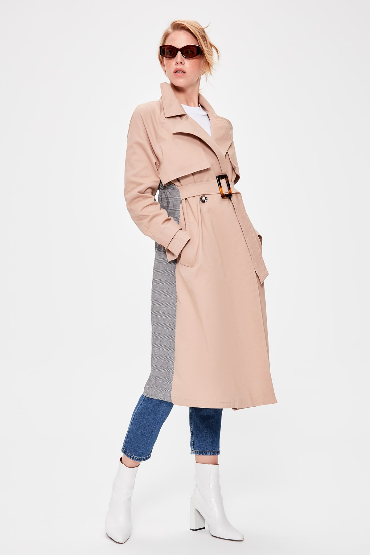 Trendyol Stone Arched Plaid Detailed Trench TWOAW20TR0013