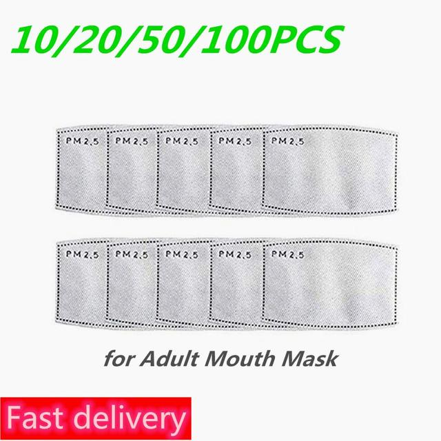 100pcs Mask Filters Anti-Dust mask Activated carbon filter Windproof Mouth-muffle bacteria proof Flu Face masks Care Reusable