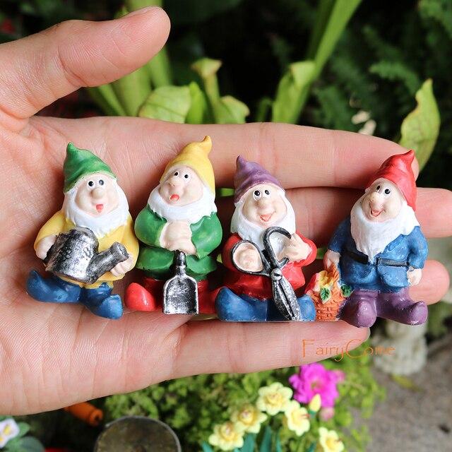 FairyCome Mini Garden Gnome Figurines Resin Fairy Garden Funny Miniature GnomMB