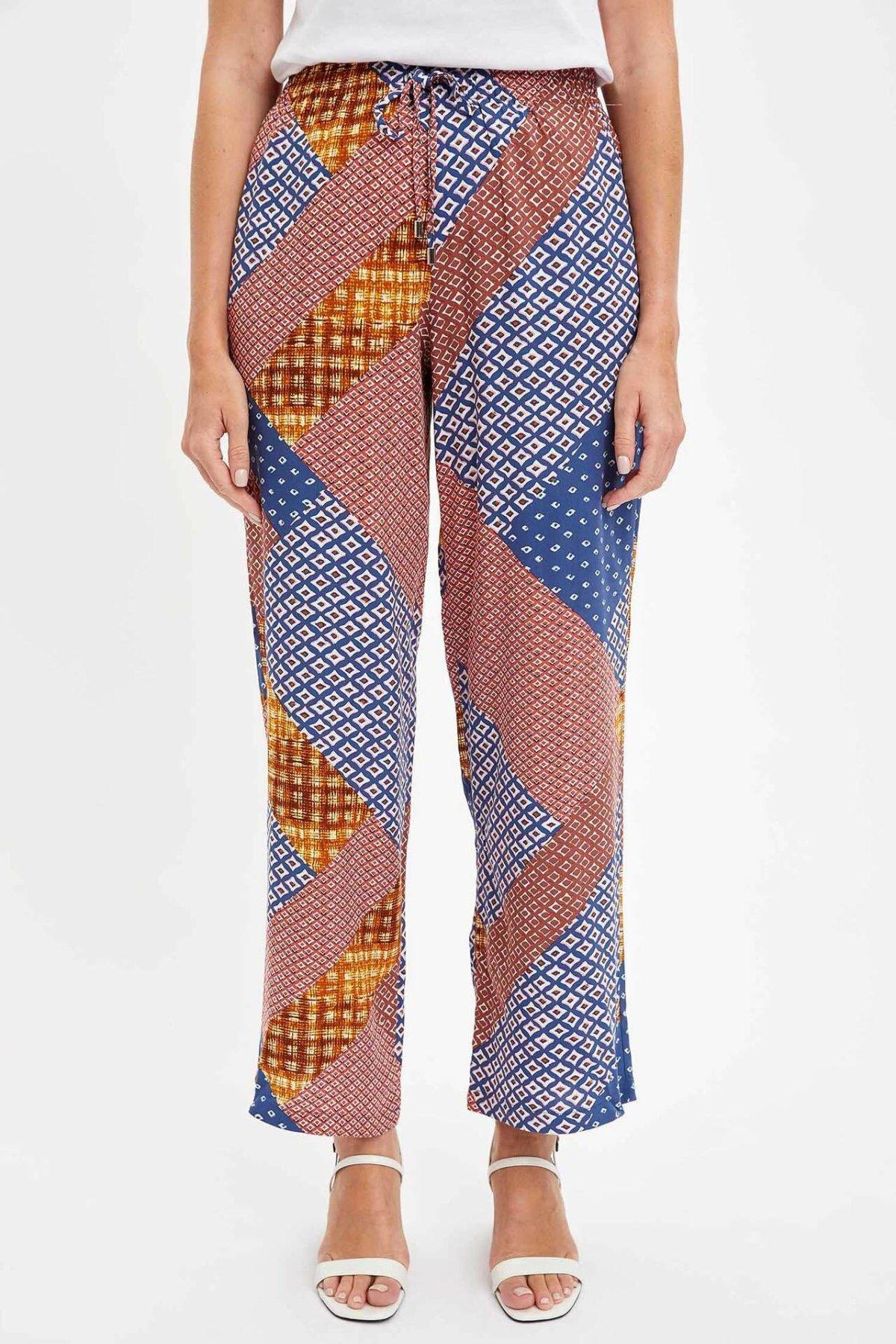 DeFacto Trendy Women Wide Leg Long Pants Black White Stripe Loose Pant Woven Elastic Bottom Casual Trousers-K0173AZ19SP