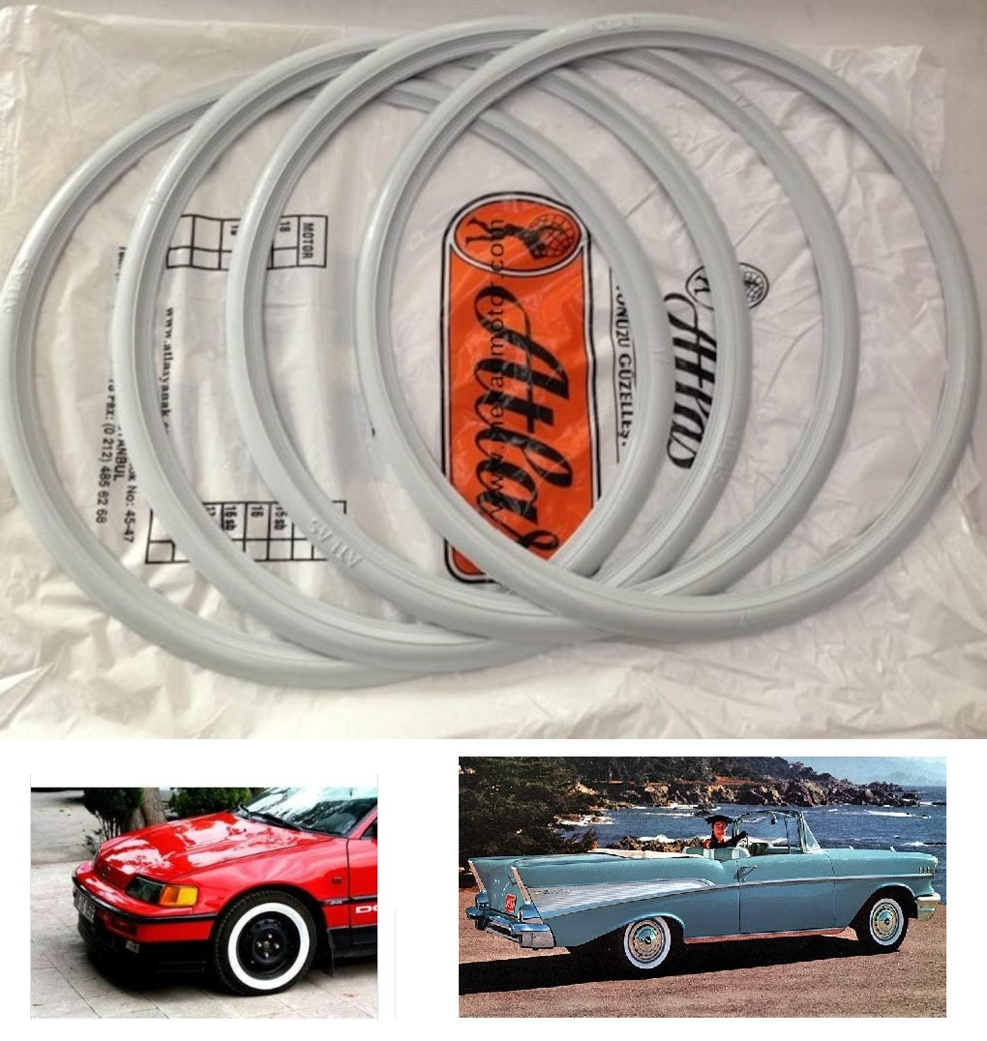 """Details about  /15/""""Rim New!Atlas Tire White Cover Topper Tire Trim port a wall For X4  #243"""