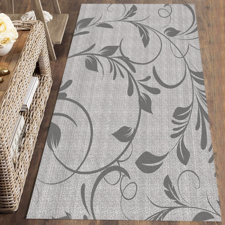 Else Gray Floral Flowers Modern Nordec 3d Print Non Slip Microfiber Washable Long Runner Mat Floor Mat Rugs Hallway Carpets