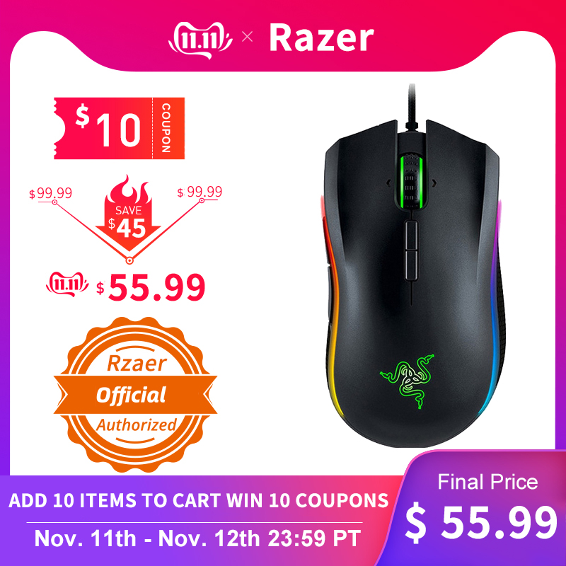 NEW Razer Mamba Elite Wired Gaming Mouse 16000 DPI 5G Optical Sensor Chroma Light Ergonomic Gaming Mouse For PC Gamer Laptop-in Mice from Computer & Office