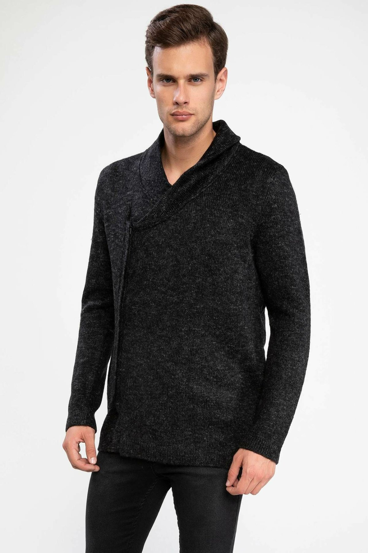 DeFacto Man Winter Black Knitted Cardigan Creative Design Men V-neck Casual Top Coats /Male Bolero Cardigans-J4756AZ18WN