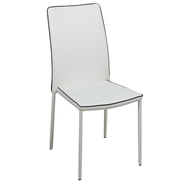 Dining Chair Pvc Metal White (44 X 42 X 96 Cm)