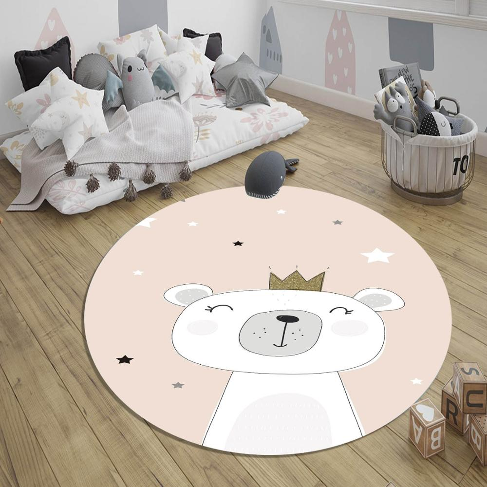 Else Pink White Stars Princess Bear Nordec 3d Pattern Print Anti Slip Back Round Carpets Area Rug For Kids Baby Children Room