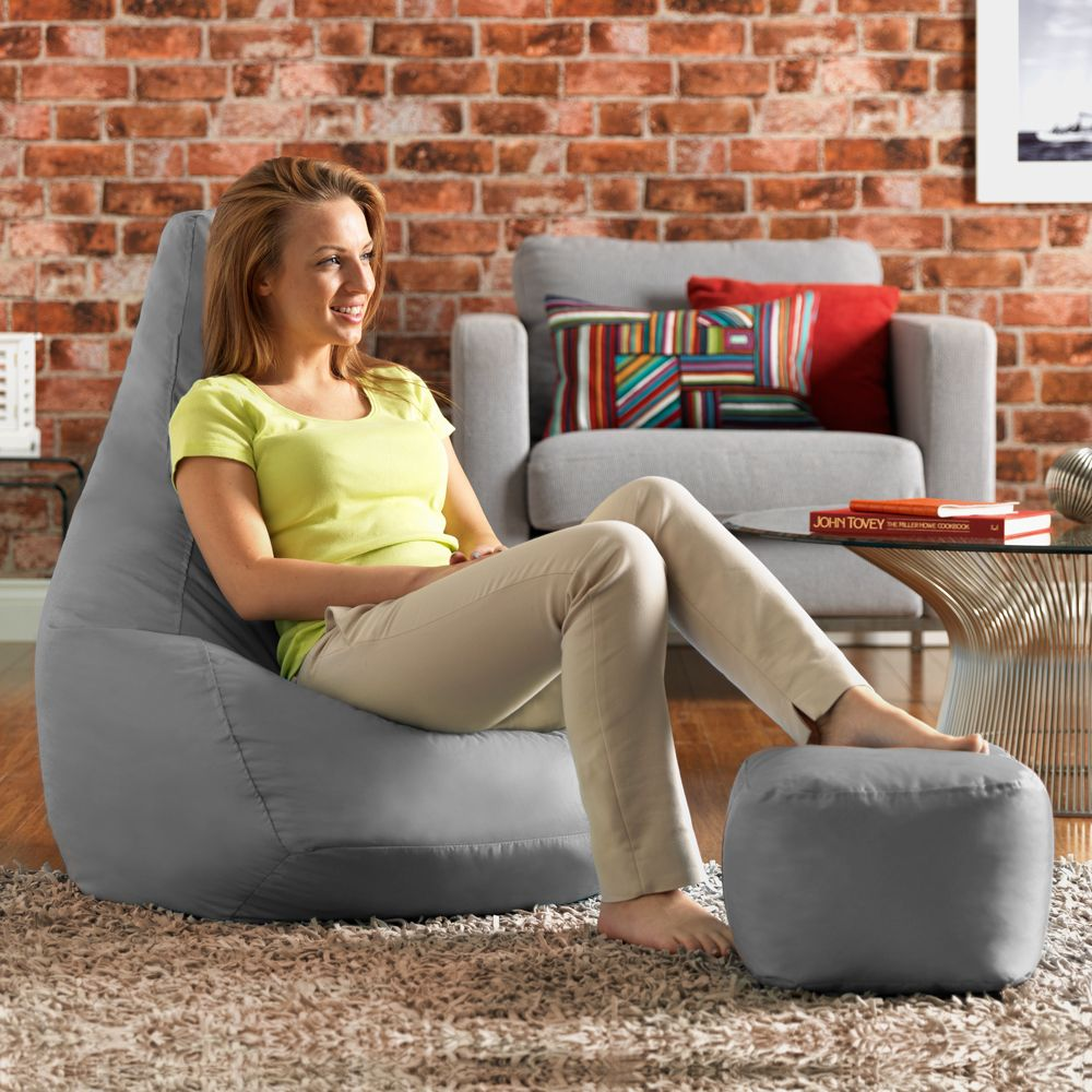 Ink Craft Leatherette  GrayCombo Retro Classic Bean Bag Chair Cover Only