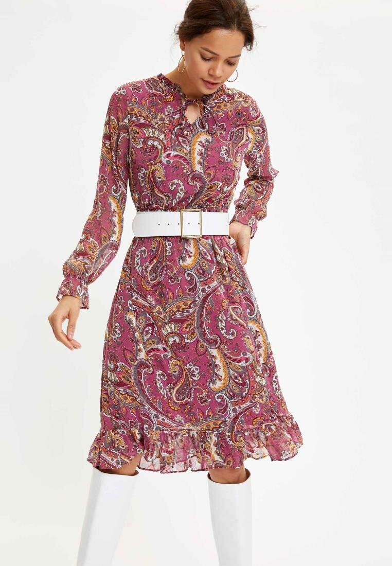 DeFacto Women Spring Chiffon Dress Women Casual Tribal Prints Dress Lady Long Sleeve Dresses Pink Black Dress-N0761AZ20SP