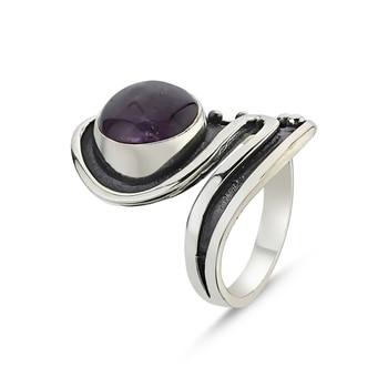 Silver 925 Sterling Amethyst Stone Handwork Ring