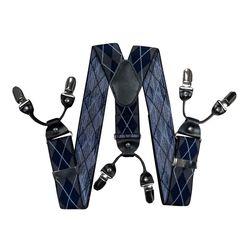 Подтяжки для брюк широкие (4 см, 6 клипс, Серый) 55134