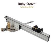 Miter Gauge + Aluminium Fence 450mm + Flip Stop, Brass/Aluminum Handle for you to choose