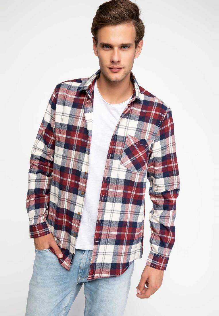 DeFacto Man Long Sleeve Shirt Classic Red Plaid Shirts Turn-down Collar Pockets Male Casual Shirts-J0601AZ18WN