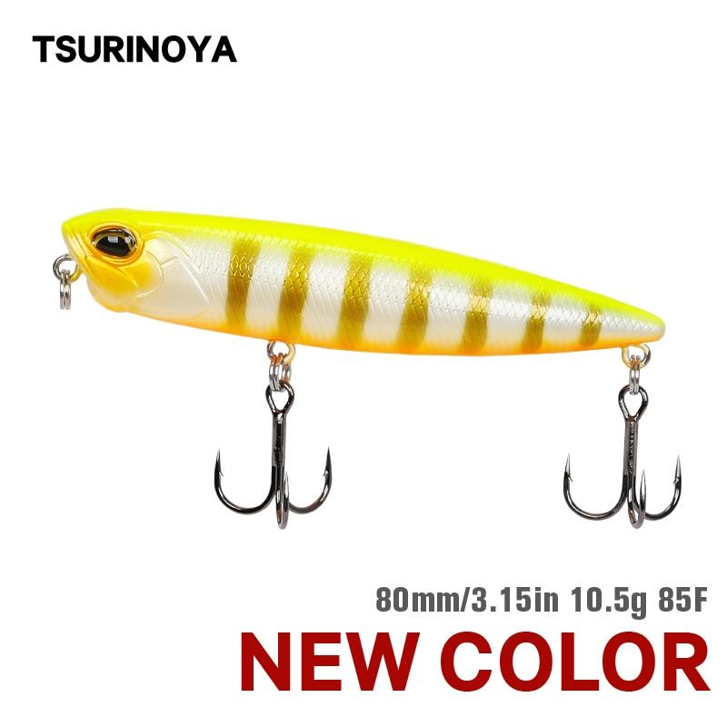 Tsurinoya flutuante lápis fihsiing isca dw59 85mm 10.5g topwater crankbait baixo snakehead iscas duras flutuador longa fundição jerkbait