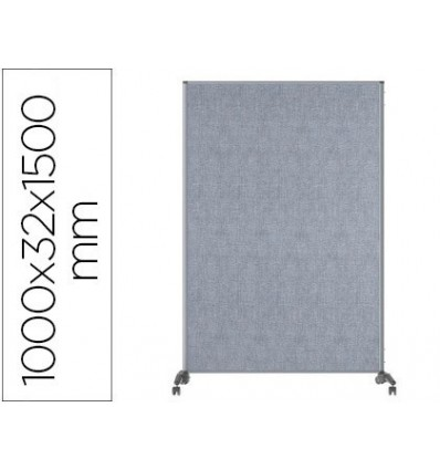 SCREEN SEPARATORIA BI-OFFICE EVOLUTION SOUND PROOF DOUBLE SIDED WITH WHEELS ALUMINUM FRAME UPHOLSTERED GRAY 100 X