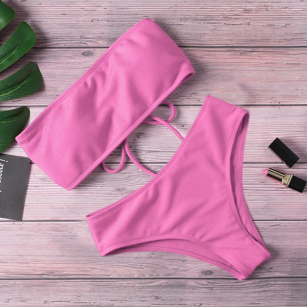 2020 New Bikini Women Swimwear High Waist Strapless Sexy Bikini Women Swimsuit Padded Bathing Suit