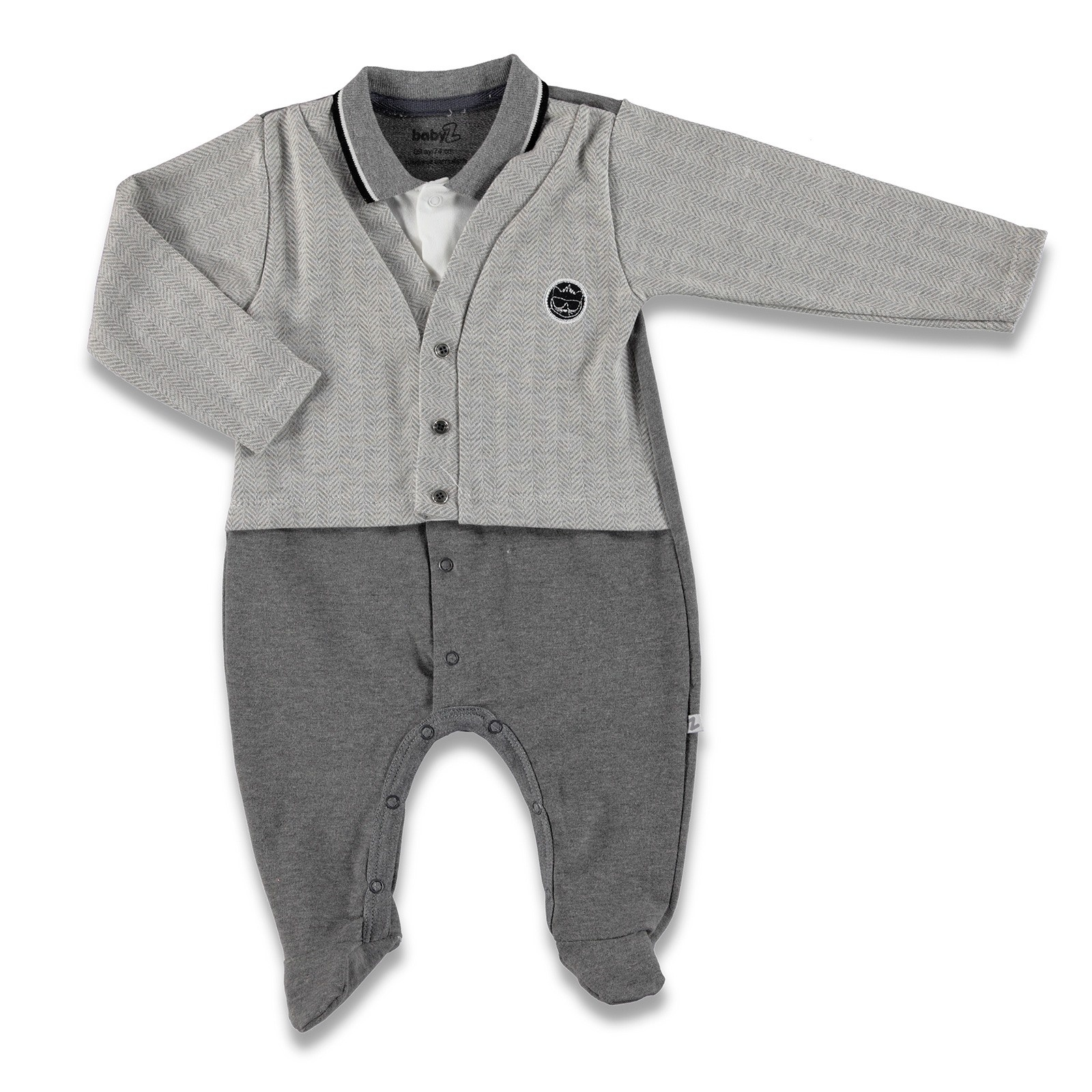 Ebebek BabyZ Knit Collar Button Detail Polo Neck Cardigan Footed Roomper