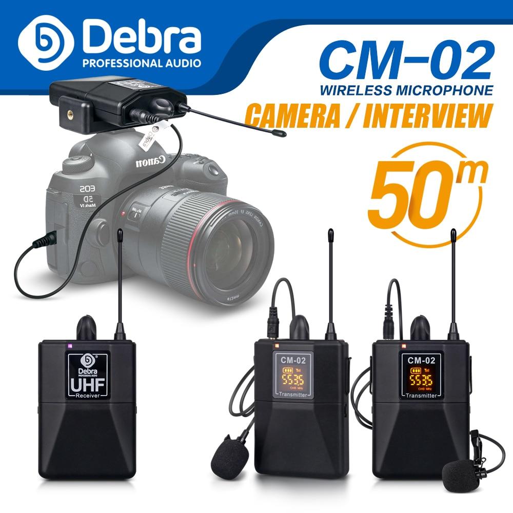 Debra аудио UHF Беспроводной Lavalier микрофон с 30 выбираемыми каналами диапазон 50 м для DSLR камеры интервью Запись в реальном времени