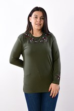 Women's Large Size Fronting Embroidered Khaki Blouse 2003