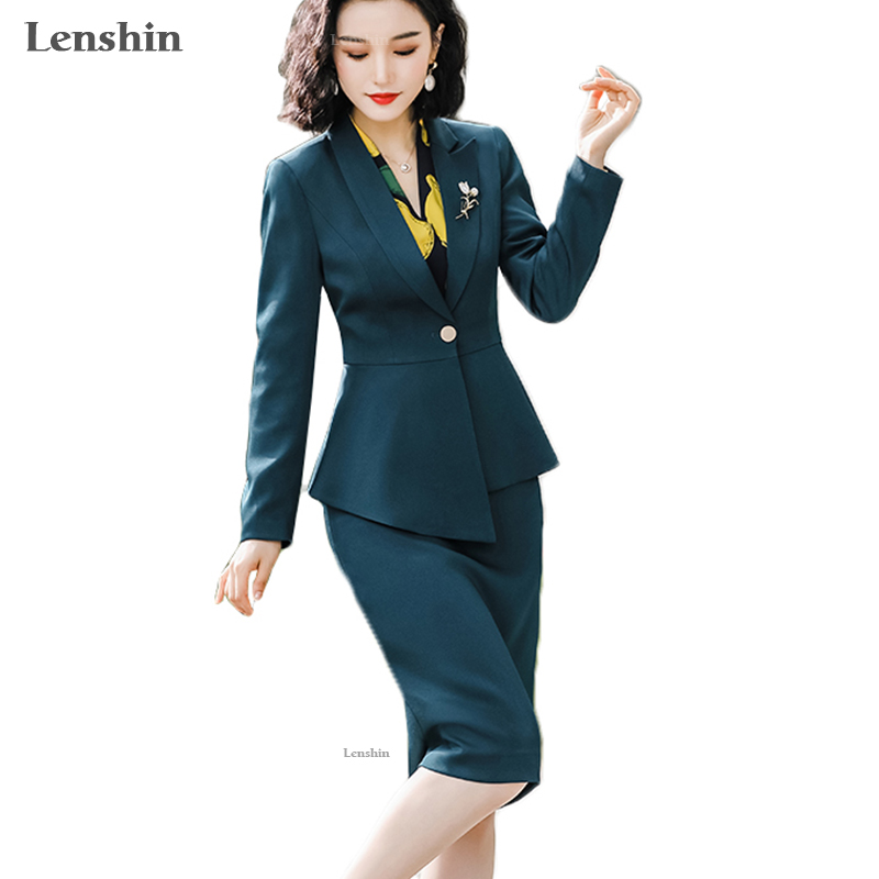 Lenshin 2 Piece Ruffles Set For Women Formal Knee-length Skirt Suit Office Lady Uniform Fashion Business Jacket And Skirt