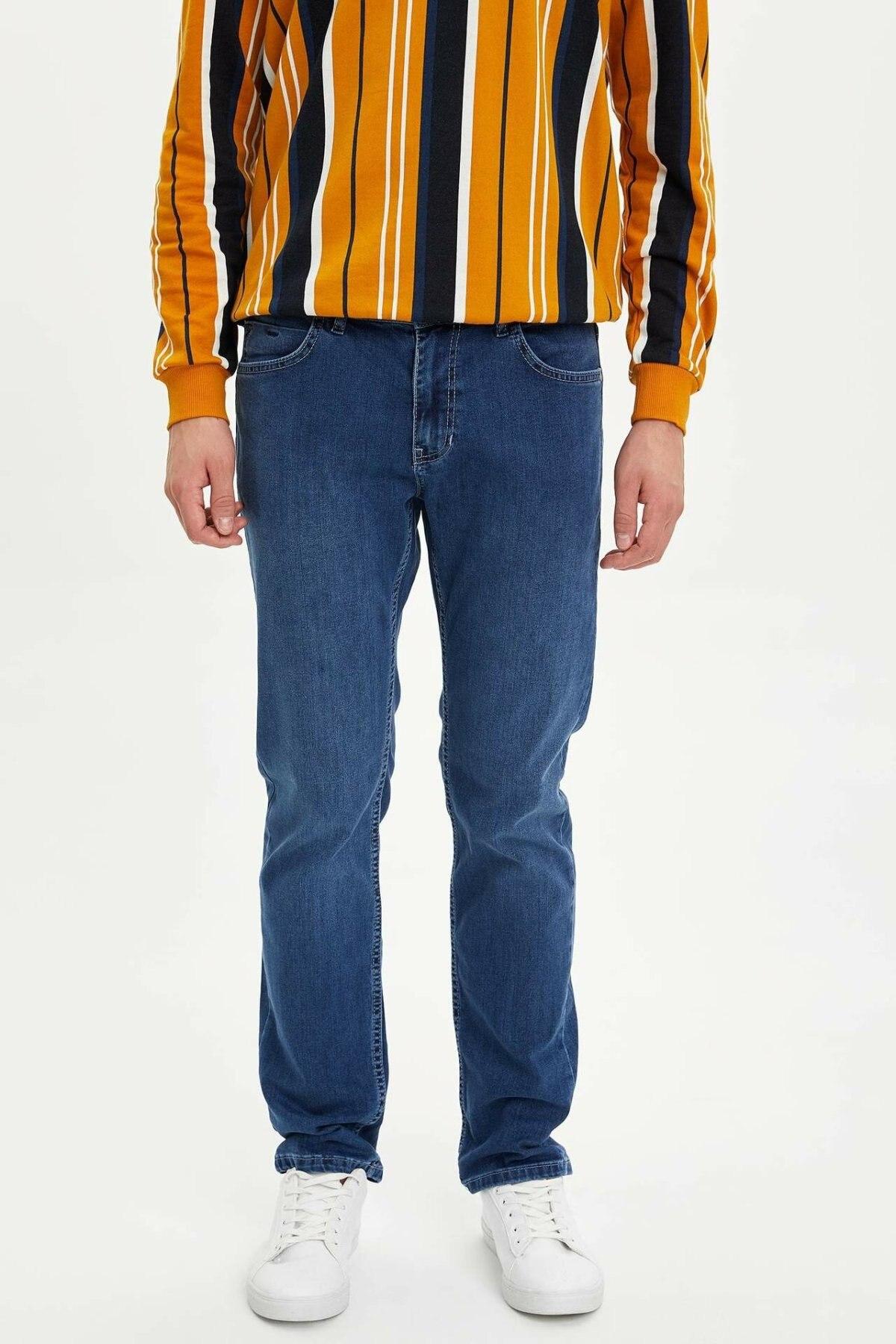 DeFacto Man Straight Denim Jeans Men Blue Jeans Pants Casual Long Pants Mid-waist Men Bottoms Blue Denim Trousers-M4001AZ19WN