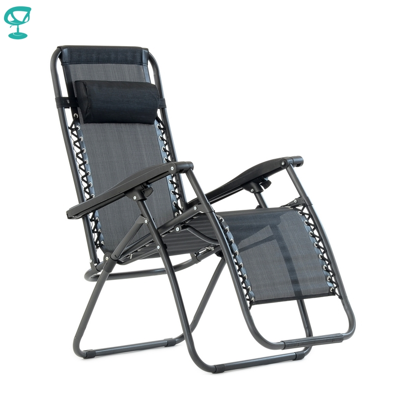 95639 Barneo PFC-14 Black Folding Reclining Garden Deck Chair Sturdy Tubular Steel Frame HardWearing Textoline Fabric Adjustable